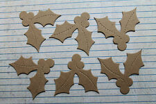 6 Bare chipboard die cuts holly leaves and berry small size for cards 2 1/8 inch