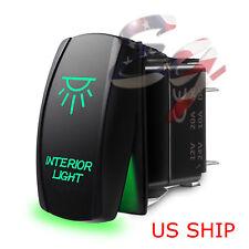 LED Waterproof Green ROCKER SWITCH LASER ETCHED 12v 20a LED INTERIOR LIGHT CAR