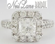 Neil Lane Bridal 2.21 ct 14K Leo Princess Diamond Halo Engagement Ring Rtl $9k
