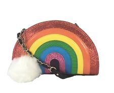 NWOT Betsey Johnson I Love Hue Rainbow Crossbody Bag + White Fur Pom-Pom