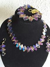 Aurora Crystal Chunky Necklace Big Faceted Black Tie Jewelry, Bracelet, Earrings