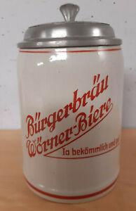 Bierkrug Steinkrug Brauerei Bürgerbräu G. Wörner Gaustadt Bamberg  1/2L
