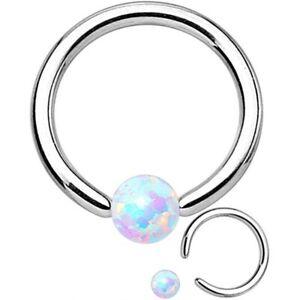 """Captive Lip Ear Ring 14 Gauge 3/8"""" w/Opal White 3mm Gem Ball Steel Body Jewe"""