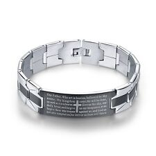"Men's ""Lord's Prayer and Cross"" Titanium Stainless Steel Bracelet 8.0 Inch"