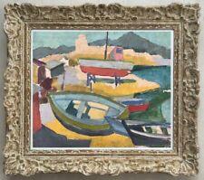 ROBERT MENVIELLE (1919-2019) PEINTURE FAUVISTE SUPERBE MARINE  1950 (12)