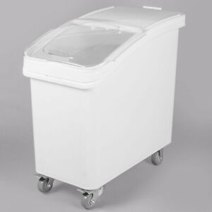 27 Gallon / 430 Cup White Slant Top Mobile Ingredient Storage Bin w Lid & Scoop