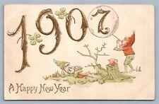 HAPPY 1907 NEW YEAR ANTIQUE POSTCARD w/ GNOMES