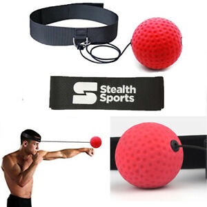 REFLEX REACTION BALL BOXING HEAD BAND SPEED PUNCH TRAINING RED