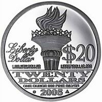 2005 AMERICAN LIBERTY DOLLAR $20 - 1oz .999 FINE SILVER PROOF-LIKE in CAPSULE