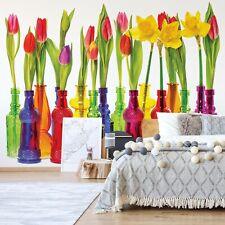 Tulips In Bottles Photo Design Wallpaper Wall Mural Fleece Easy-Install Paper