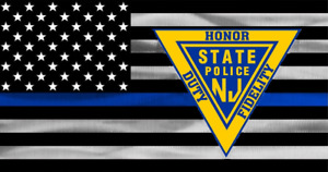 New Jersey State Police window decal OFFICIAL NJSP NJ Blue Line triangle