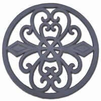 "Decorative Round Cast Iron Trivet Ornate Heart Design Kitchen Hot Pad 8"" Wide N"