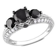 Amour 10k White Gold 2 Ct TDW Round Cut Three Stone Black Diamond Ring G-H I2-I3