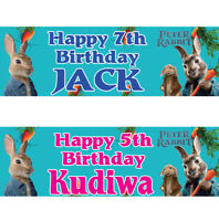 2 personalized birthday banner Peter Rabbit Children kid party poster decoration