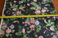 By 1/2 Yd, Pink, Purple & Green Floral on Black Polished Cotton, Cranston, N289