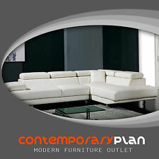 Contemporary White Leather L Shaped Sectional Sofa w Adjustable Headrest Armrest