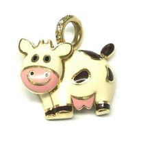 "Aaron Basha 18K Yellow Gold ""Cow WIth Black Spots"" Charm With Diamond Bale 7/8"""