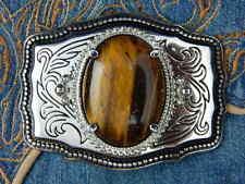 Tigres Ojo De Oro Artesanal Nuevo Hebilla de cinturón de plata/Negro Metal, Western, goth
