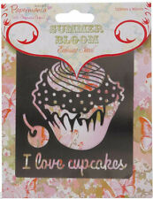 Xcut steel template embossing stencil  ' I love cupcakes ' cup cake with cherry