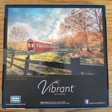 Vibrant MEGA PUZZLES COUNTRY COVERED BRIDGE 1000 Piece Jigsaw Puzzle 18 X 26