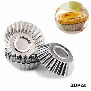 Aluminum Egg Tart Cupcake Tin Baking Prop Tool Cake Cookie Mold Mould DIY 20Pcs