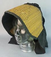 Antique Victorian 1800's era woven Wicker Straw (style) Black Mourning Hat