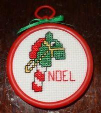 "Hobby Horse Christmas Ornament Finished Cross Stitched green ""Noel"" Handmade"