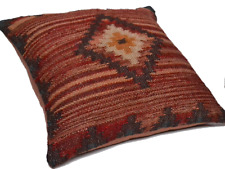 Handmade Kilim Cushion Cover FAULTY ZIP Diamond Maroon Indian Moroccan 60cm
