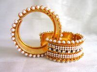 Indian Ethnic Bollywood Bridal Gold Plated Cuff Fashion Jewelry Bangles