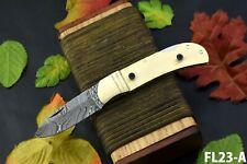 Custom Damascus Steel Blank Folding Knife Handmade, Brass Bolster (FL23-A)