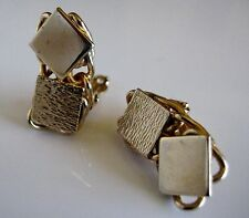 Vintage Gold Tone Geometric Squares Small Earrings Clip On