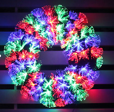 """Color Changing Fiber Optic 24"""" Lighted PVC Wreath"""