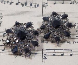 Silver Tone Vintage Large Ear Rings Clip On Black Gem & Marcasite 1980s /1990s