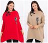 Tunika Damen Sweatshirt Lang Oversize Pulli Locker Warm Asymmetrisch Langarm Rot