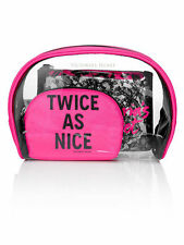 NWT VICTORIA'S SECRET SET OF 3 COSMETIC MAKEUP BEAUTY BAGS BLACK LACE & PINK NEW