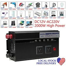 US Plug DC12V to AC110V Portable Car Power Inverter Charger Converter 2000W New