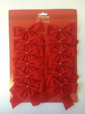 12 X 12cm Premier Red Velvet Bows XMas Christmas Tree Decoration