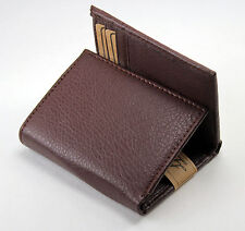 New Mens Trifold Grain Leather Wallet Brown Bill Credit Card Id Window License