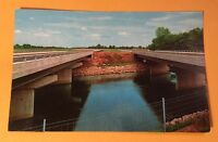 PIGEON RIVER BRIDGES, INDIANA TOLL ROAD IN vintage unposted chrome postcard