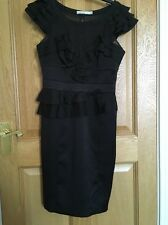 KAREN MILLEN Ladies Black Silk Blend Ruffled Cap Sleeve Peplum Pencil Dress UK10