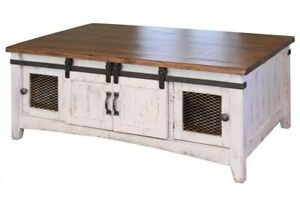 Cocktail table or coffee table sliding barn doors wire mesh rustic white brown