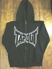 Men's TAPOUT Vintage Jacket Open front with Zipper and Hoddie Black Size Small.