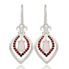 Rose Quartz And Garnet Gemstone Fleur De Lis Earrings 925 Silver Jewelry