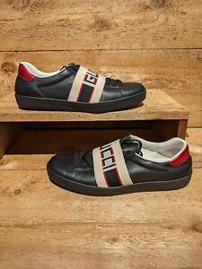 GUCCI Men's Ace Gucci Stripe Sneakers Black Leather Size 8.5 US 9 100% AUTHENTIC