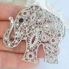 Unique Animal Elephant  Brooch Pin Pendant Clear Rhinestone Crystal EE05102C3
