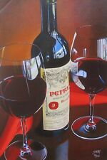 "THOMAS STILTZ ""Petrus"" Hand Signed Limited Edition Giclee on Canvas Wine Art"