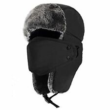 Unisex Winter Trooper Hat with Earlaps and Chin Strap, Color Black