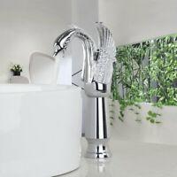Swan Design Silver Bathroom Basin Mixer Tap Single Lever Deck Mount Brass Faucet