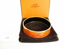 Authentic HERMES Orange Enamel Bangle Bracelet Emaiyu GM #7953