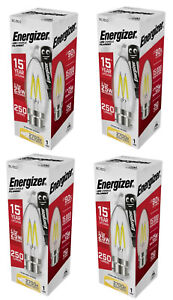 Energizer LED B22 Filament Bulb Candle Vintage 2.3W Warm White 2700K Edison X 4